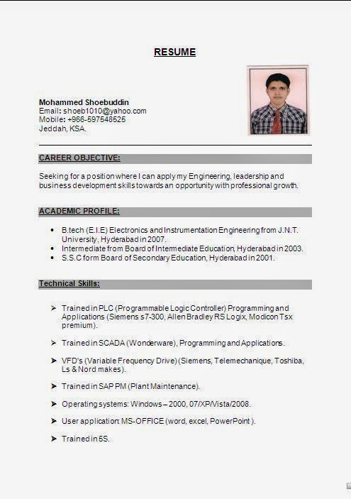 Resume Formats For Engineering Students 32 Sample Resume Format