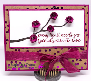 Linda Vich Creates: 30th Anniversary Card Using Foil Frenzy and Paisley Framelits. Rolled roses adorn an Early Espresso Branch on this card, accented with Foil Frenzy DSP and tied up with Berry Burst Crinkled Seam Binding Ribbon.