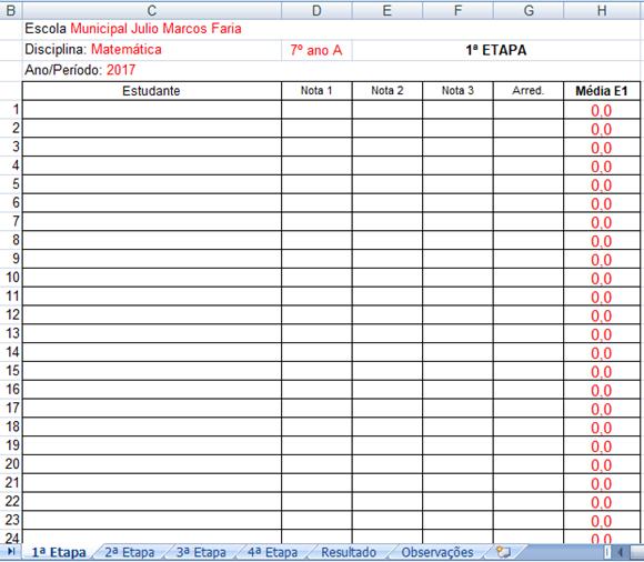 Diário de Classe - Versão em Excel com notas por etapas e resultados finais