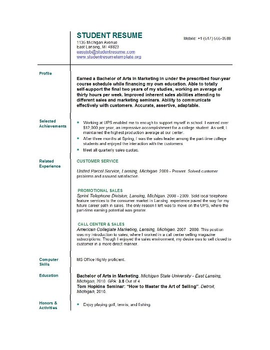 Resume Templates For College Students High School Resume Examples