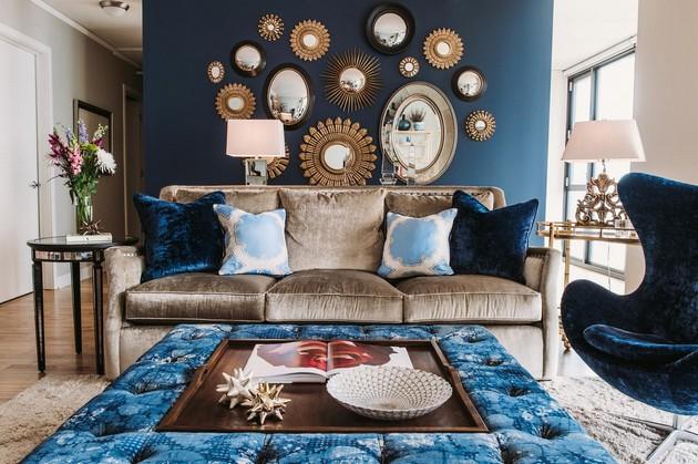 Warna biru untuk bagian interior hunian