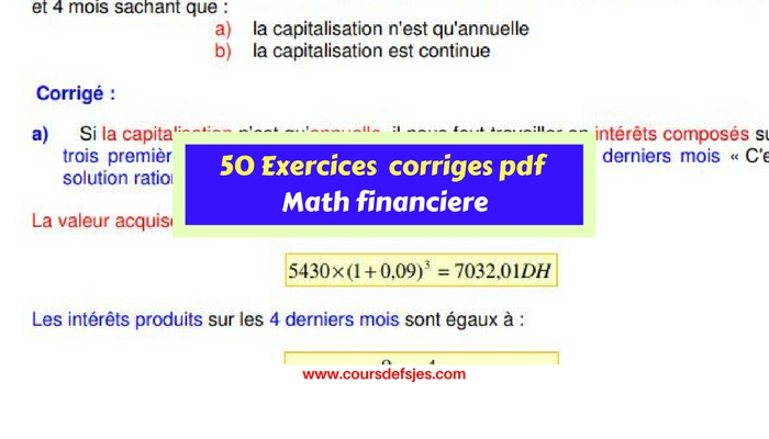 50 Exercices Corriges De Mathematique Financiere Cours Fsjes
