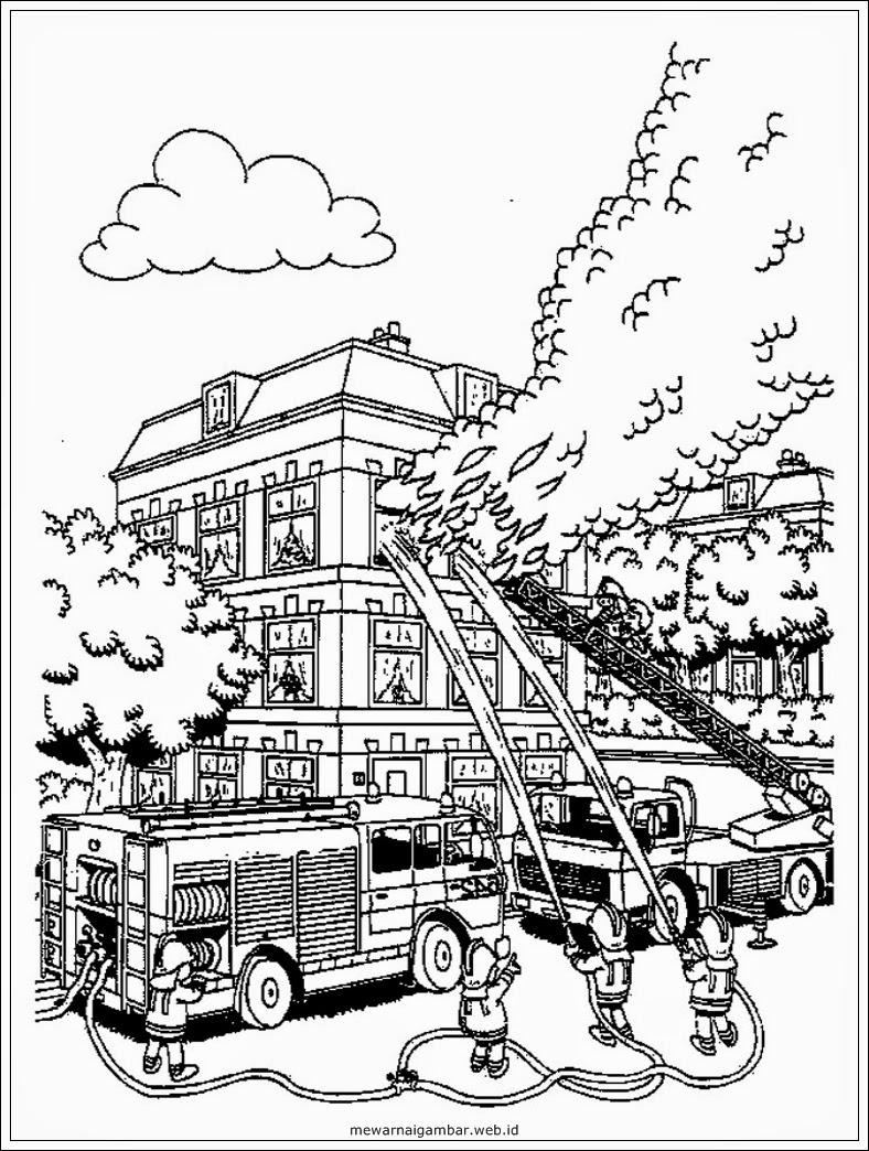 Download Sketsa Gambar Kebakaran Kartun