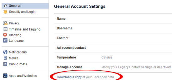 backup facebook account