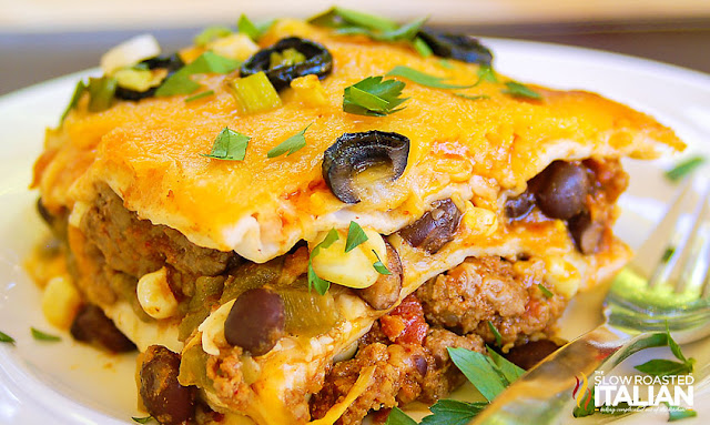 Taco lasagna close up photo served on a plate