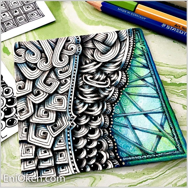 10-Morphing-tangles-Eni-Oken-Color-and-Black-and-White-Zentangle-Drawings-www-designstack-co