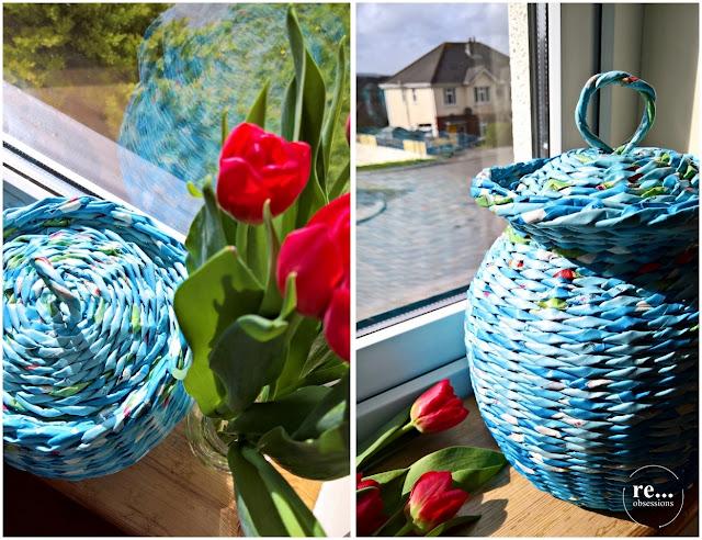 paper, recycle, upcycle, paper wicker, basket, vase, papierowa wiklina, koszyk, blue