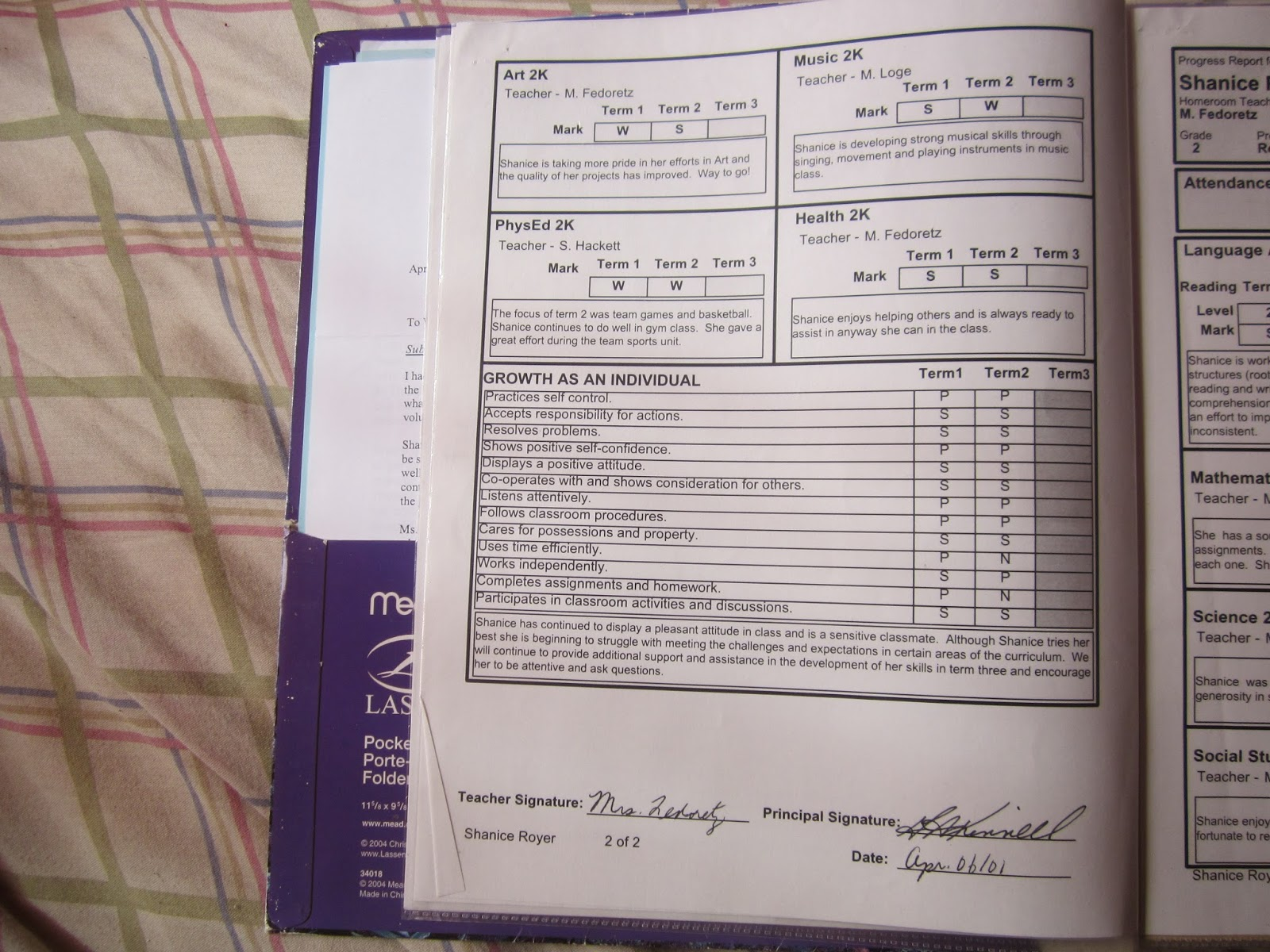report card organizer