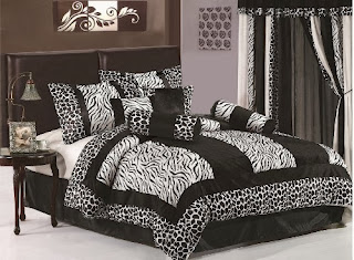 Chezmoi Collection 8-Piece Black and White Micro Fur Zebra with Giraffe Design Comforter