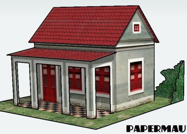 Papermau house with veranda paper model by papermau for Simple home model