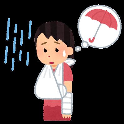骨折して傘が持てない人のイラスト(女性)