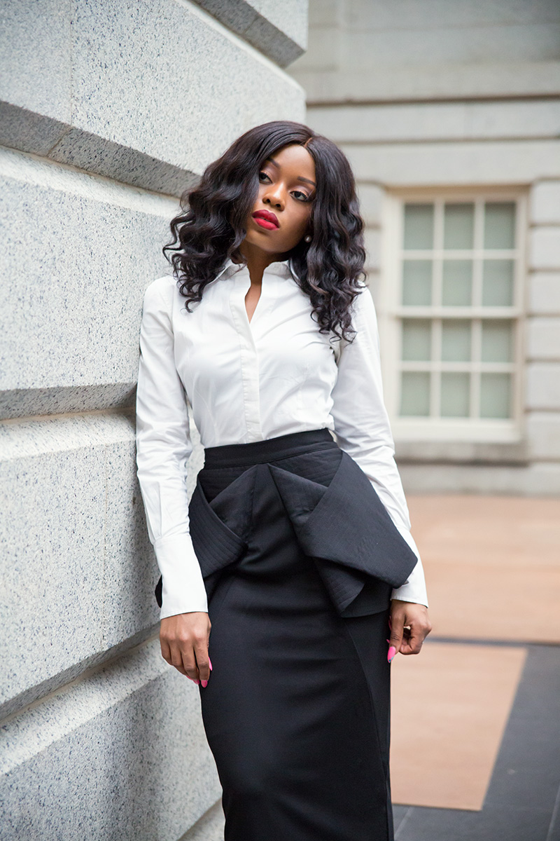 aqaq origan peplum skirt, maxi skirt, white shirt, black tie style, www.jadore-fashion.com