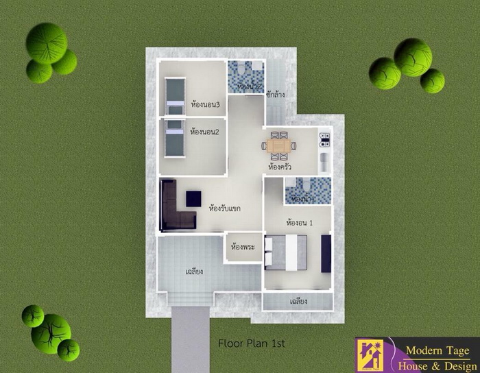 Three-bedroom house floor plans are very famous. Three bedroom house plans can be built in any style or design, so choose wisely that fit your design and your budget. Whatever style you choose, you will have a home that is spacious and budget friendly.  Advertisement    Looking a beautiful modern house plan for a 3-bedroom house can be tough but these house designs show a variety of ways that three bedrooms can work. A quick look at these house floor plan designs can be an inspiration if you are moving into a new home, building one or tired of the arrangement of the place you already live in.   Sponsored Links                               House Type: Single House Contemporary Style    Suggested Lot area for this design: 60 Square Meters Of Living Space    Estimated Building cost: 3,090,000 baht (excluding interior decoration)    Bedroom: 3    Bathroom: 2    Kitchen: Yes    Garage: Yes    Source:  Phufah Garden Home                                             House Type: Single House Contemporary Style    Suggested Lot area for this design: 155 Square Meters Of Living Space    Estimated Building cost: 1.5 Million Baht    Bedroom: 3    Bathroom: 2    Kitchen: Yes    Source::  Sathaporn Home Builders Construction contractor Home Improvement                                                                House Type: Contemporary style home    Suggested Lot area for this design: 108 Square Meters Of Living Space    Estimated Building cost: 1.38 Million Baht    Bedroom: 3    Bathroom: 2     Kitchen: Yes    Source:  Modern Tage House & Design