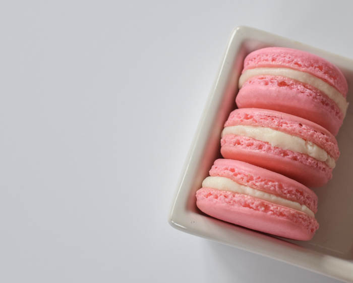 Basic French Macarons with a Vanilla Buttercream Filling. A crisp and chewy sweet treat