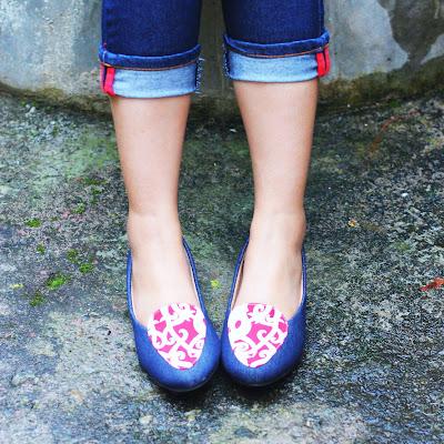 Sepatu Batik Dayak Kombinasi Denim