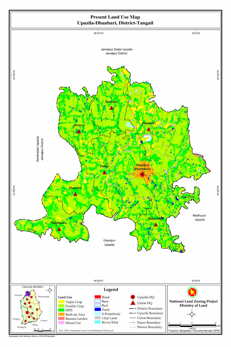 Dhanbari Upazila Mouza Map Tangail District Bangladesh