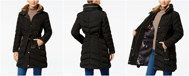 Cole Haan Faux Fur Collar Puffer Coat $115 (reg $275)
