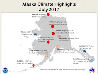 Monthly records for temperature and precipitation set in July in Alaska. (Credit: NOAA) Click to Enlarge.