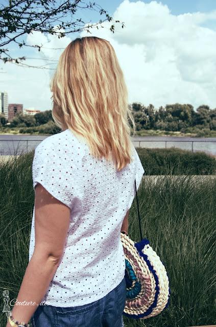 biała, bluzka, na lato, bawełna, szycie