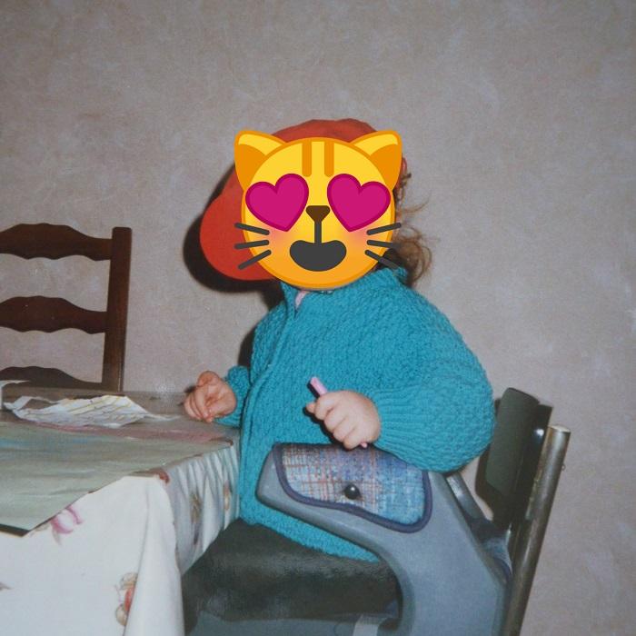 Gilet en point travaillé, tricoté par ma Maman