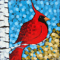 Return to Schmidt Lake No. 1 by artist aaron kloss, painting of a cardinal in the fall, pointillism, painting at sivertson gallery