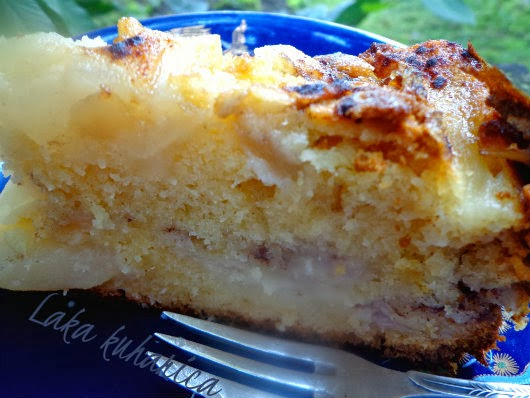 Delicious pear cake by Laka kuharica: simple, moist cake bursting with fruity, spicy flavor.