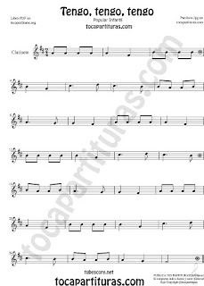 Clarinete Partitura de Tengo, tengo, tengo Canción popular infantil  Sheet Music for Clarinet Music Score
