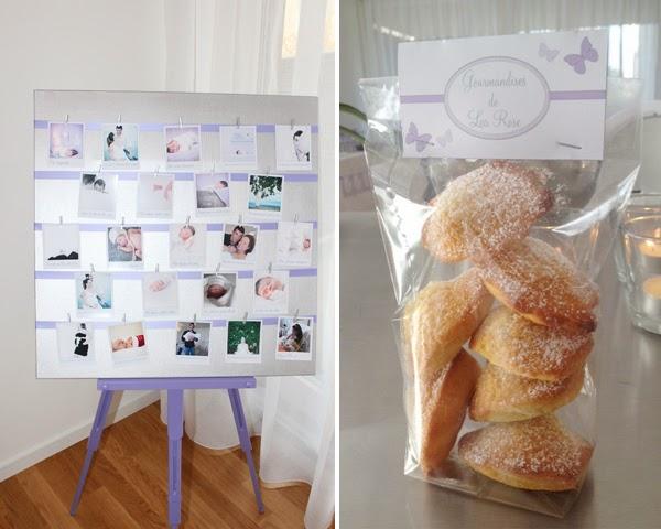 tableau de photo aux couleurs du theme papillon violet et sachet de gateaux