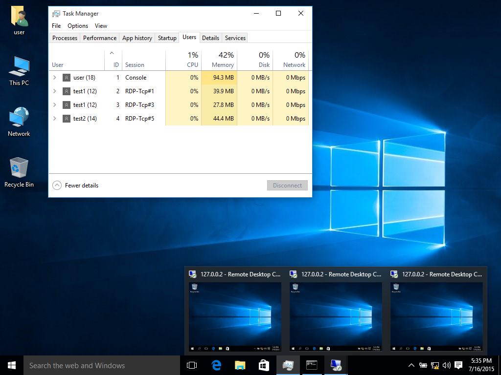 Multiple RDP Sessions like Windows Server 2008/2012 in