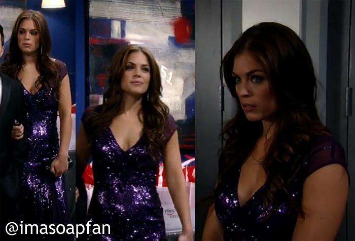 Britt Westbourne, Kelly Thiebaud, Purple Sequined Dress, Nurses Ball, GH, General Hospital, Season 52, Episode 29, 5/09/14