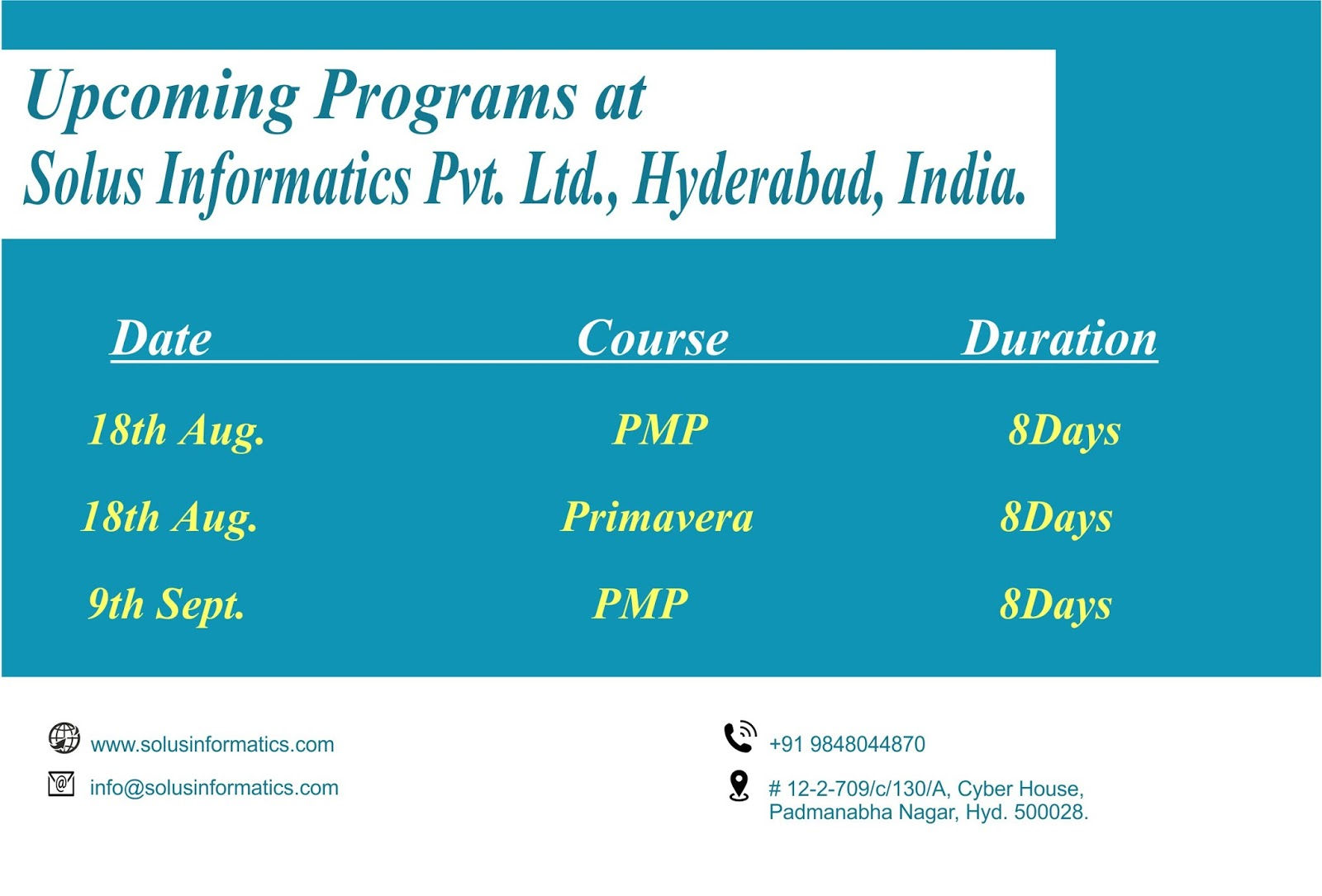 Pmp certification training dubai project management kuwait riyad scheduled for upcoming training programs at solus informatics pvt ltd in hyderabad india 1betcityfo Gallery