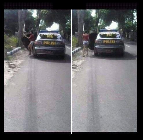 Astaga! Ada Mobil Polisi Turunkan Gadis 53k5i di Tempat Sepi