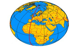 Localización del meridiano de Greenwich en el globo terráqueo