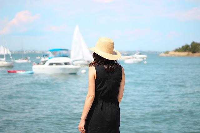 Exploring Boston Harbor Islands in my favorite sleeveless shirtdress
