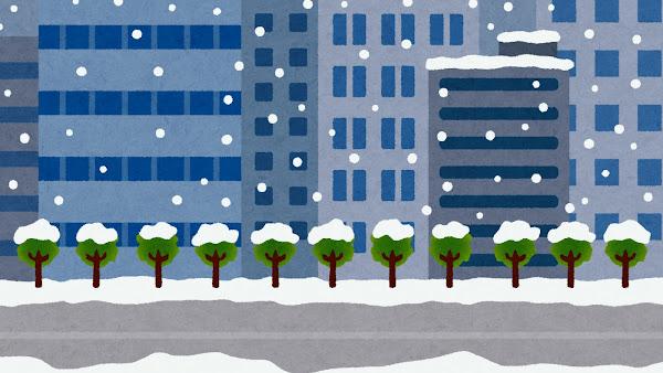 雨が降るオフィス街・ビル街のイラスト(背景素材)