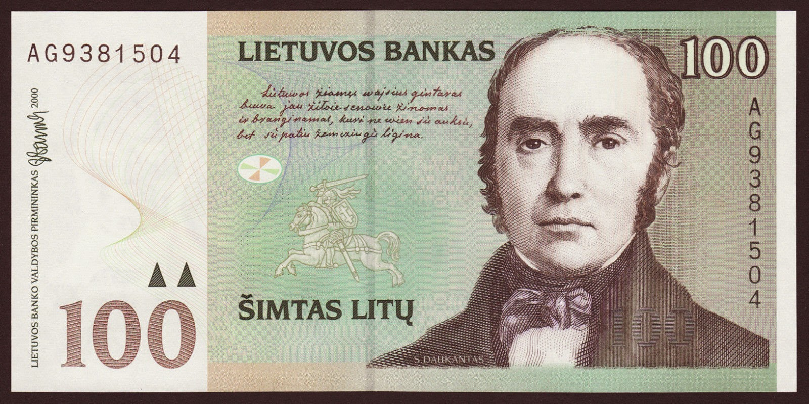 Lithuania 100 Litu banknote, Simonas Daukantas