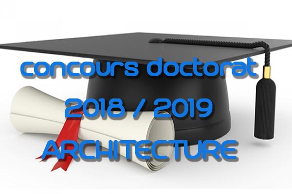 CONCOURS DOCTORAT ARCHITECTURE 2018/2019