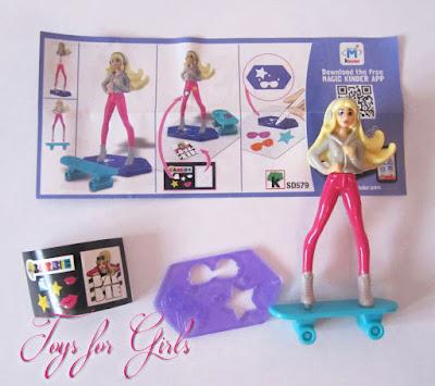 Новая кукла Barbie из киндера сюрприза. Серия игрушек Barbie Mattel Kinder Surprise 2016. Кукла в розовых штанах на скейтборде
