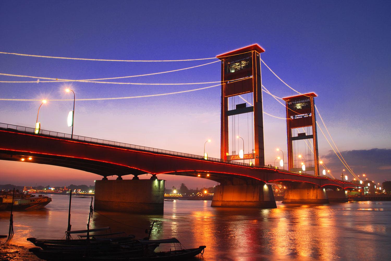 Indonesian Travel Ampera Bridge In Palembang