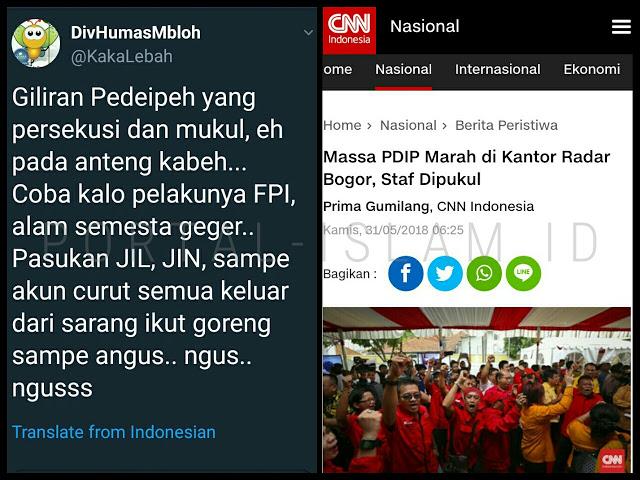 PDIP Geruduk Kantor Radar Bogor, Coba yang Lakukan FPI Atau Massa Kaus #2019GantiPresiden, Digoreng Sampe Gosong
