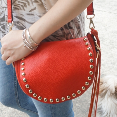 AwayFromTheBlue | Rebecca Minkoff unlined saddle bag in cherry red