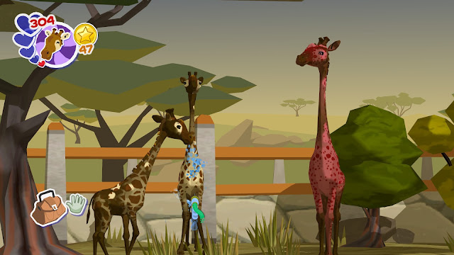 Screenshot of giraffe exhibit in World of Zoo