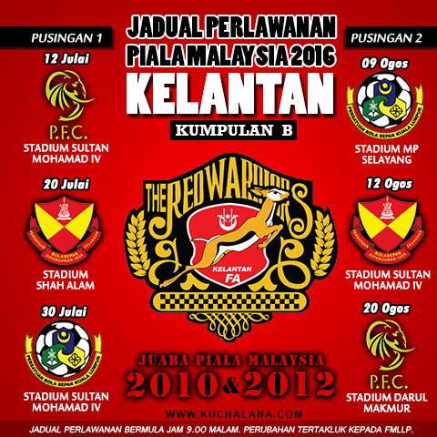 Jadual Perlawanan Piala Malaysia 2016 Pasukan Kelantan
