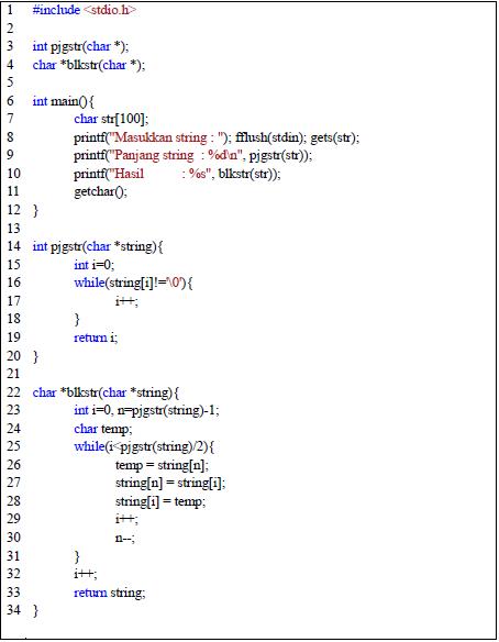 Latihan Program String Bahasa C