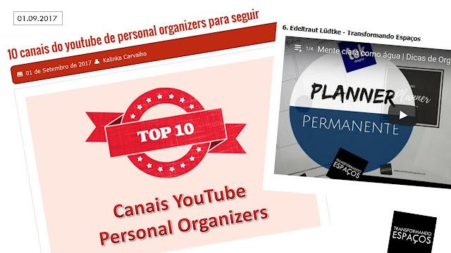 10 canais do youtube de personal organizers para seguir