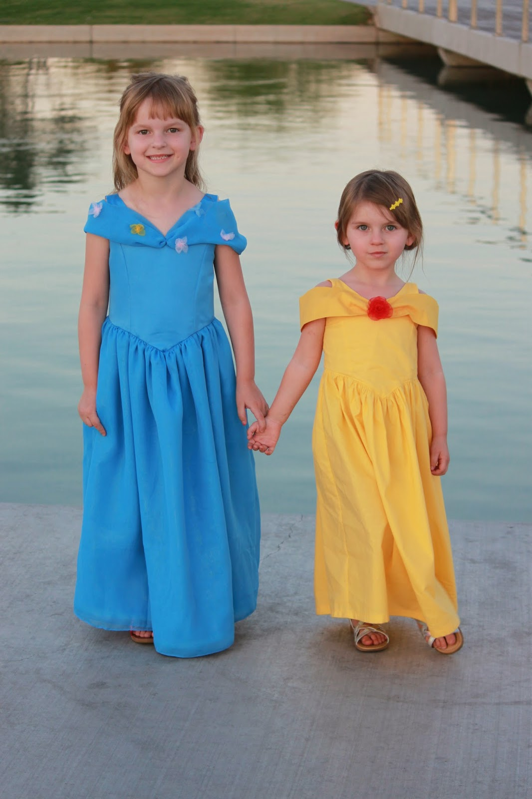 2 little girls in princess party dress