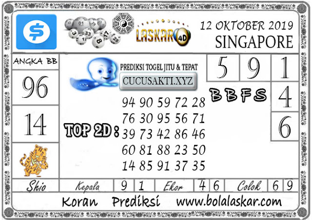 Prediksi Togel SINGAPORE LASKAR4D 12 OKTOBER 2019