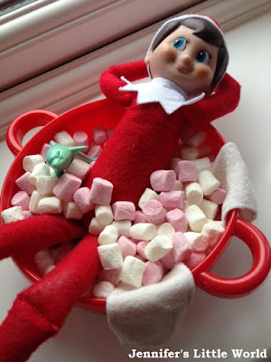 Elf on the Shelf in marshmallow bath