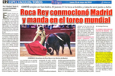 Diario El men, Lima, Peru Lunes 2018-05-28 Pagina Taurina