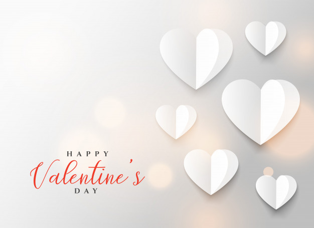 Origami heart design for valentine's day Free Vector